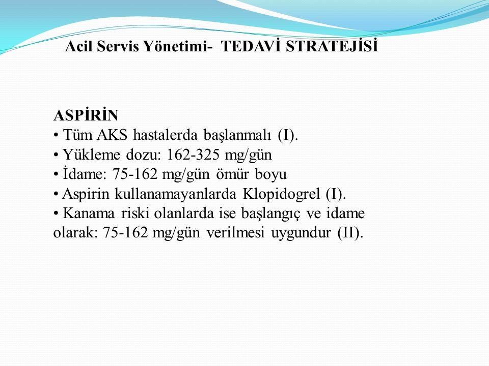 ASPİRİN Tüm AKS hastalerda başlanmalı (I). Yükleme dozu: 162-325 mg/gün İdame: 75-162 mg/gün ömür boyu Aspirin kullanamayanlarda Klopidogrel (I). Kana