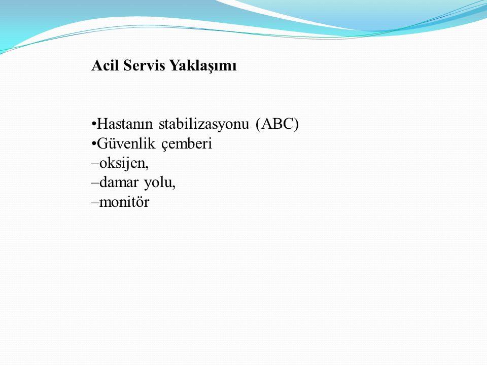 Acil Servis Yaklaşımı Hastanın stabilizasyonu (ABC) Güvenlik çemberi –oksijen, –damar yolu, –monitör