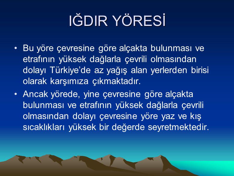 IĞDIR YÖRESİ Bu yöre çevresine göre alçakta bulunması ve etrafının yüksek dağlarla çevrili olmasından dolayı Türkiye'de az yağış alan yerlerden birisi