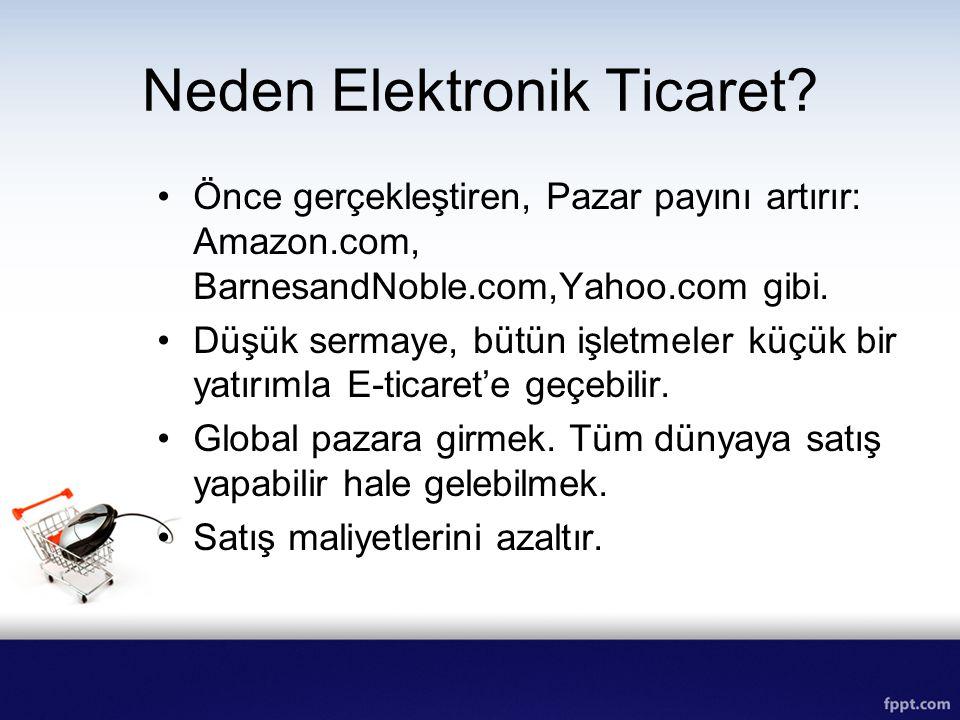 Neden Elektronik Ticaret? Önce gerçekleştiren, Pazar payını artırır: Amazon.com, BarnesandNoble.com,Yahoo.com gibi. Düşük sermaye, bütün işletmeler kü