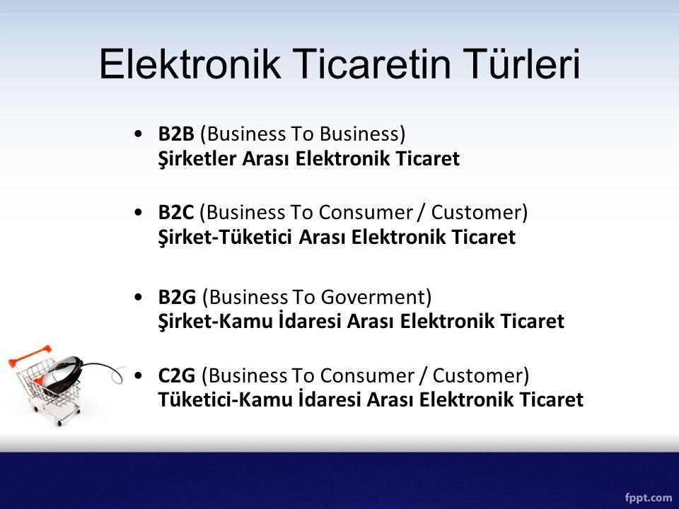 B2B (Business To Business) Şirketler Arası Elektronik Ticaret B2C (Business To Consumer / Customer) Şirket-Tüketici Arası Elektronik Ticaret B2G (Busi