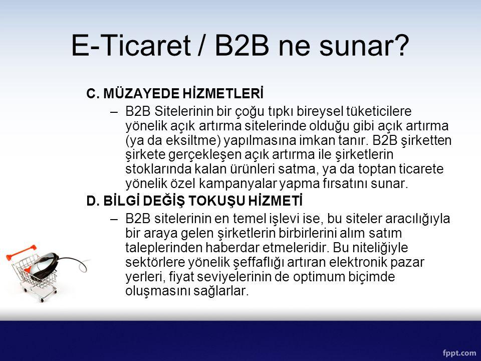 E-Ticaret / B2B ne sunar? C. MÜZAYEDE HİZMETLERİ –B2B Sitelerinin bir çoğu tıpkı bireysel tüketicilere yönelik açık artırma sitelerinde olduğu gibi aç
