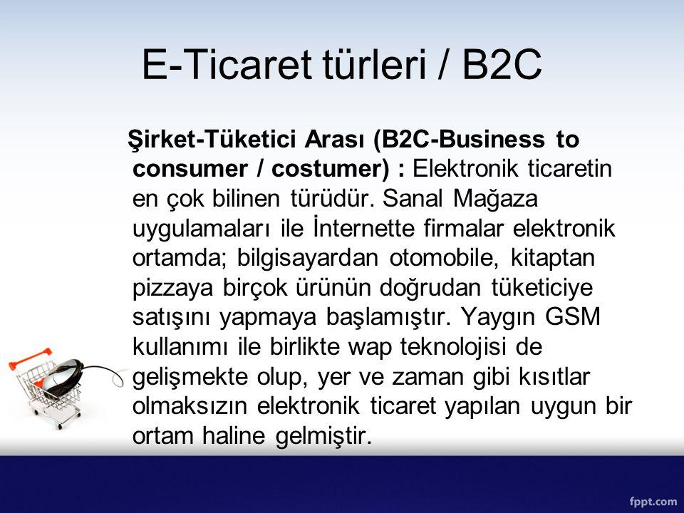 E-Ticaret türleri / B2C Şirket-Tüketici Arası (B2C-Business to consumer / costumer) : Elektronik ticaretin en çok bilinen türüdür. Sanal Mağaza uygula