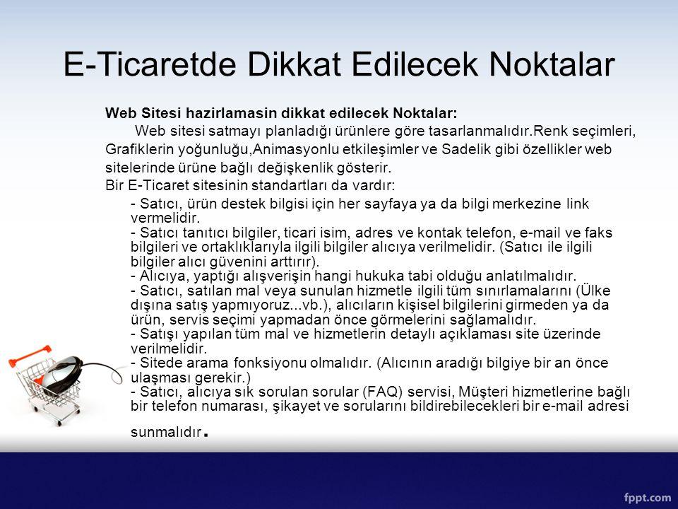E-Ticaretde Dikkat Edilecek Noktalar Web Sitesi hazirlamasin dikkat edilecek Noktalar: Web sitesi satmayı planladığı ürünlere göre tasarlanmalıdır.Ren