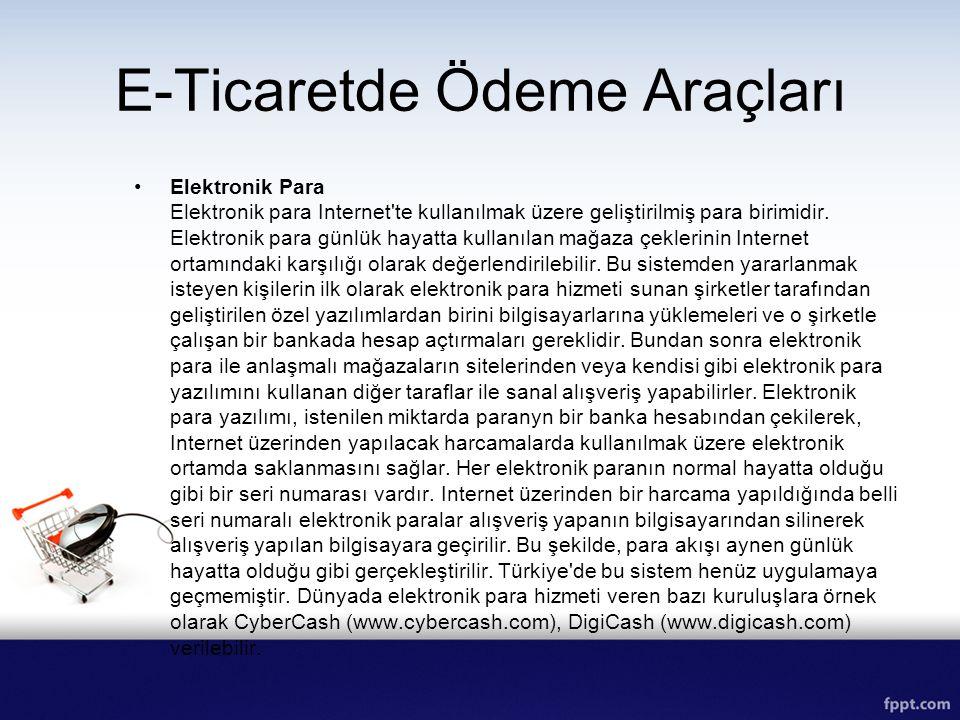 E-Ticaretde Ödeme Araçları Elektronik Para Elektronik para Internet'te kullanılmak üzere geliştirilmiş para birimidir. Elektronik para günlük hayatta