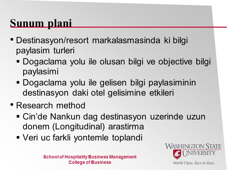 School of Hospitality Business Management College of Business