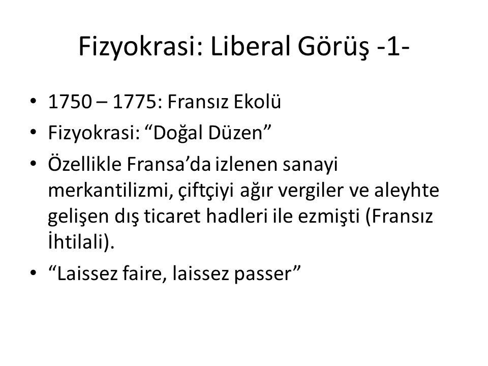 """Fizyokrasi: Liberal Görüş -1- 1750 – 1775: Fransız Ekolü Fizyokrasi: """"Doğal Düzen"""" Özellikle Fransa'da izlenen sanayi merkantilizmi, çiftçiyi ağır ver"""