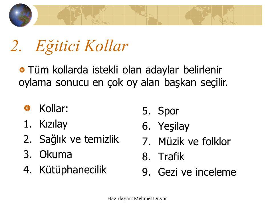 Hazırlayan: Mehmet Duyar Sınıf başkanının görevi 1.Öğretmene yardımcı olmak.