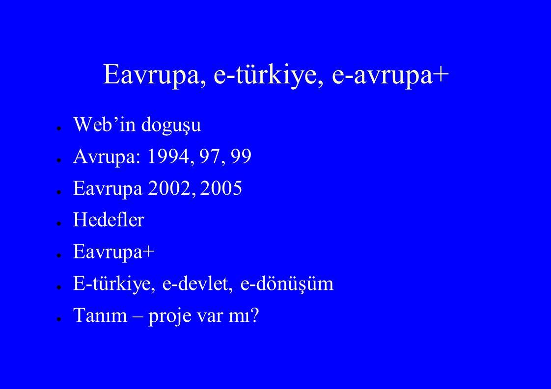 Eavrupa, e-türkiye, e-avrupa+ ● Web'in doguşu ● Avrupa: 1994, 97, 99 ● Eavrupa 2002, 2005 ● Hedefler ● Eavrupa+ ● E-türkiye, e-devlet, e-dönüşüm ● Tanım – proje var mı