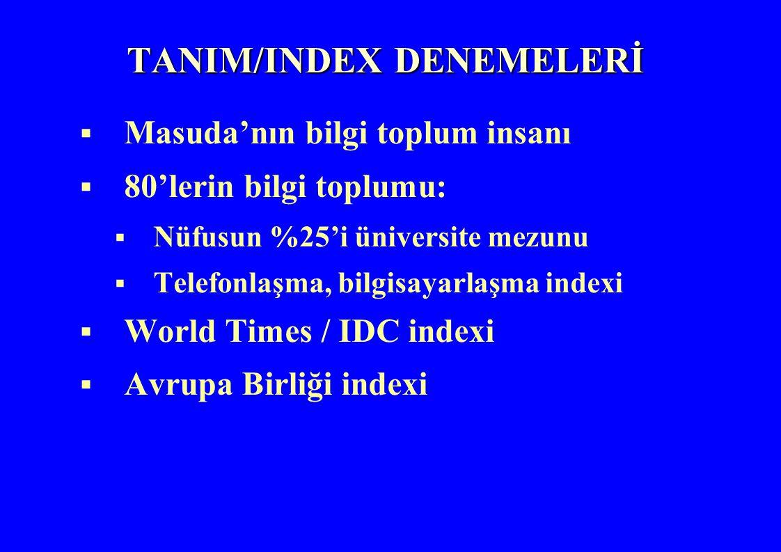 TANIM/INDEX DENEMELERİ  Masuda'nın bilgi toplum insanı  80'lerin bilgi toplumu:  Nüfusun %25'i üniversite mezunu  Telefonlaşma, bilgisayarlaşma indexi  World Times / IDC indexi  Avrupa Birliği indexi