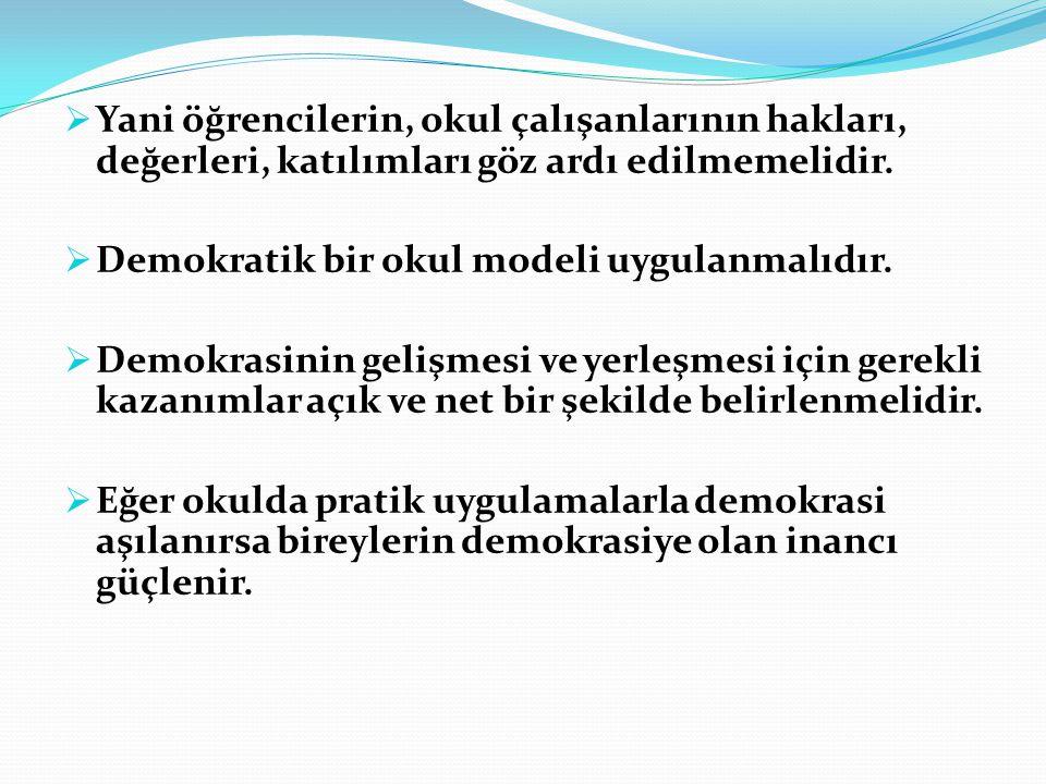  Yani öğrencilerin, okul çalışanlarının hakları, değerleri, katılımları göz ardı edilmemelidir.  Demokratik bir okul modeli uygulanmalıdır.  Demokr