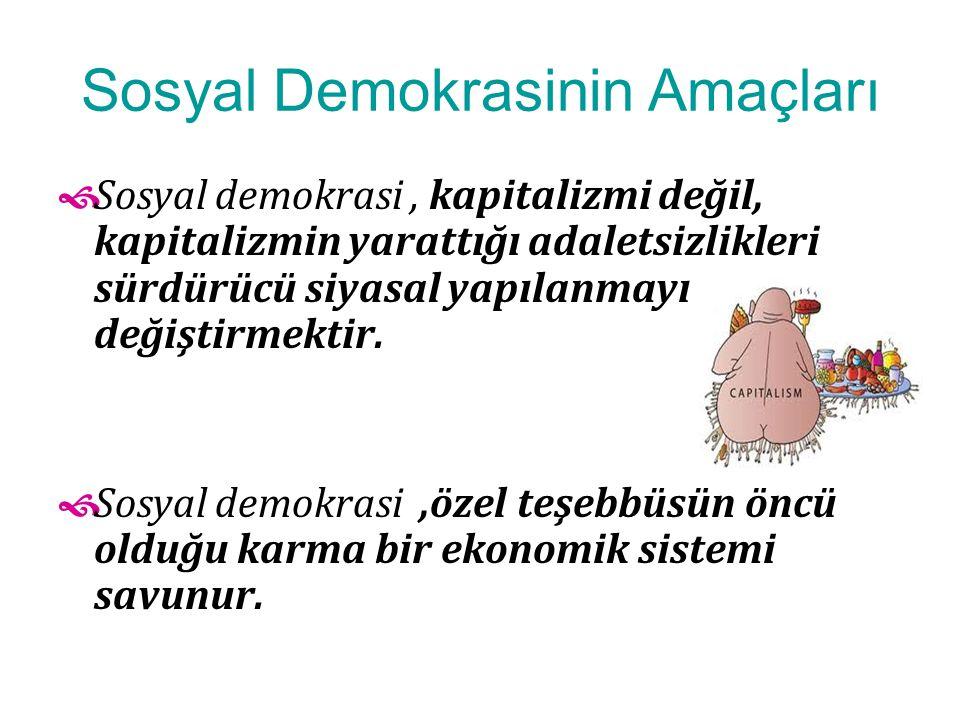 Sosyal Demokrasinin Amaçları  Sosyal demokrasi, kapitalizmi değil, kapitalizmin yarattığı adaletsizlikleri sürdürücü siyasal yapılanmayı değiştirmekt