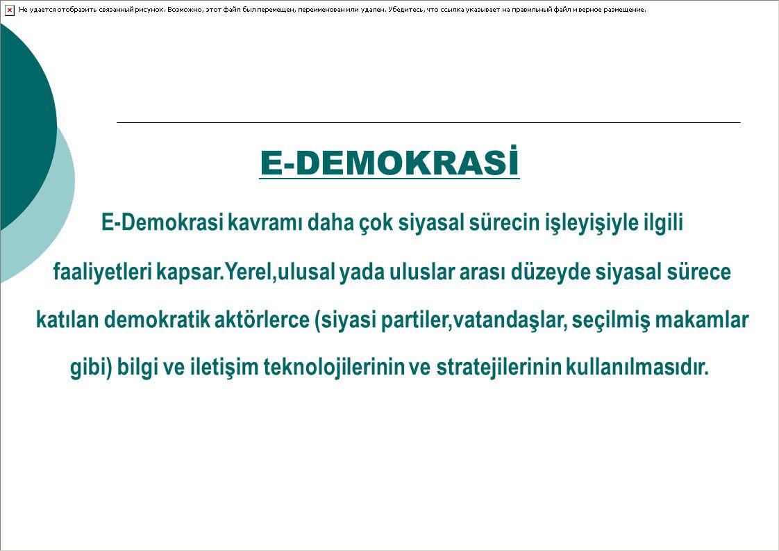 E-DEMOKRASİ E-Demokrasi kavramı daha çok siyasal sürecin işleyişiyle ilgili faaliyetleri kapsar.Yerel,ulusal yada uluslar arası düzeyde siyasal sürece