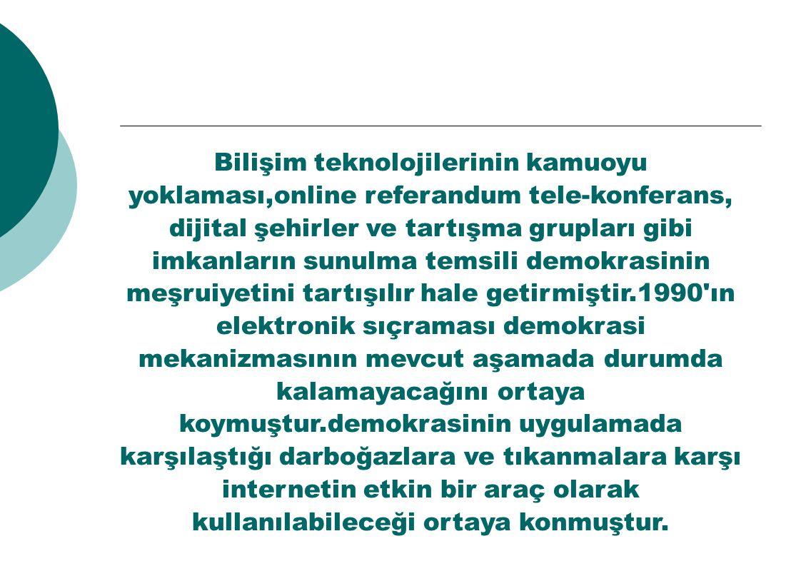 Bilişim teknolojilerinin kamuoyu yoklaması,online referandum tele-konferans, dijital şehirler ve tartışma grupları gibi imkanların sunulma temsili dem