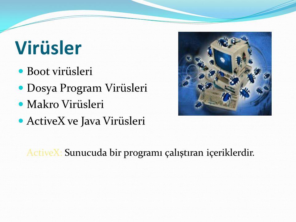 Virüsler Boot virüsleri Dosya Program Virüsleri Makro Virüsleri ActiveX ve Java Virüsleri ActiveX: Sunucuda bir programı çalıştıran içeriklerdir.