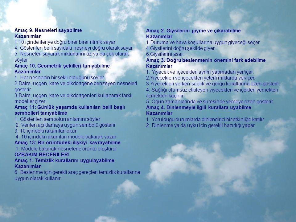 TÜYLÜ-TÜYSÜZ ÇİĞ-PİŞMİŞ BİREBİR EŞLEME TAM(BÜTÜN)-YARIM SIRALI ÖNCE-ŞİMDİ-SONRA SARI-KIRMIZI-TURUNCU ÜÇ RENKLİ ÖRÜNTÜ ÇALIŞMASI 6 RAKAMINI TANIMA 1-10 ARASI RİTMİK SAYMA 1-6 ARASI RAKAMLARI YAZMA 1-5 ARASI NESNE GRUPLARININ SAYISINI SÖYLEME 1-5 ARASI SAYI-NESNE EŞLEŞTİRME BÜYÜK-KÜÇÜK AYNI-FARKLI EŞ OLANI BULMA AÇIK-KAPALI DİKKAT ÇALIŞMASI NESNELERLE GRUPLAMA ÇALIŞMASI(RENK-ŞEKİL) ALTINDA-ÜSTÜNDE İÇİNDE-DIŞINDA HAREKETLİ-HAREKETSİZ ORTADA SAĞLIKLI-HASTA DOĞRU-YANLIŞ ARKADAŞÇA DAVRANMAK KATI-SIVI TAZE-BAYAT