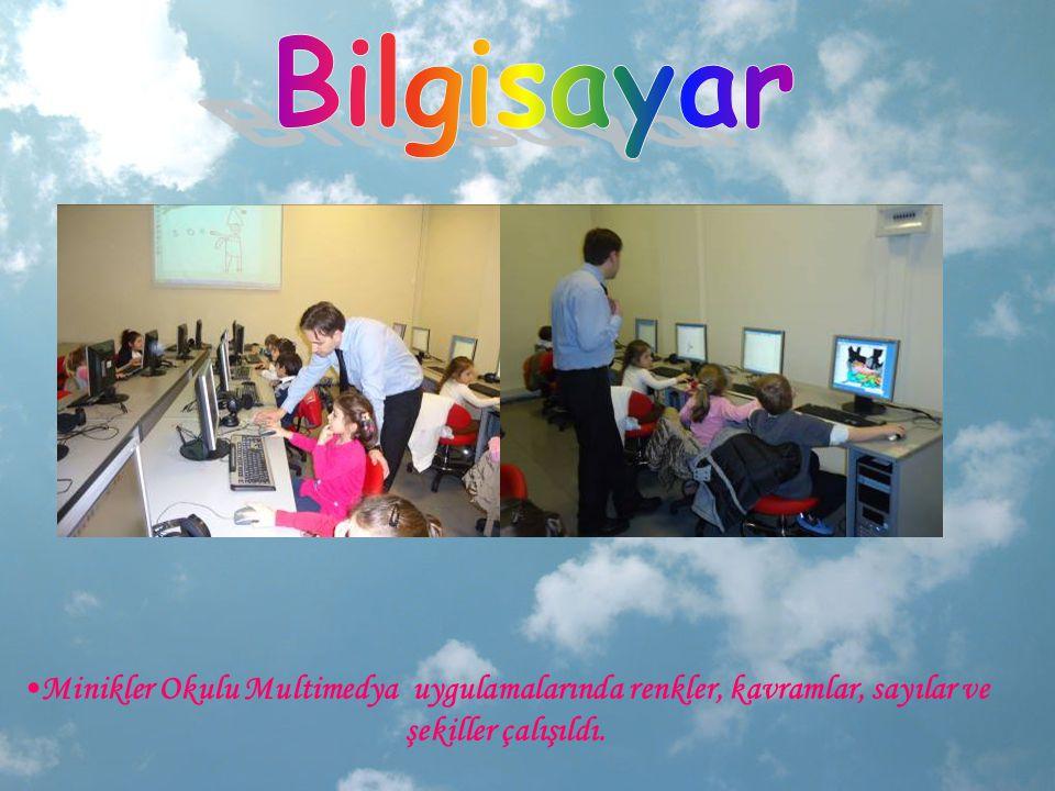 Minikler Okulu Multimedya uygulamalarında renkler, kavramlar, sayılar ve şekiller çalışıldı.