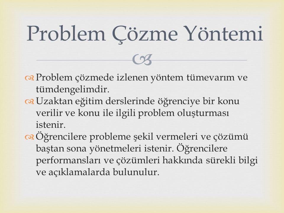   Problem çözmede izlenen yöntem tümevarım ve tümdengelimdir.  Uzaktan eğitim derslerinde öğrenciye bir konu verilir ve konu ile ilgili problem olu