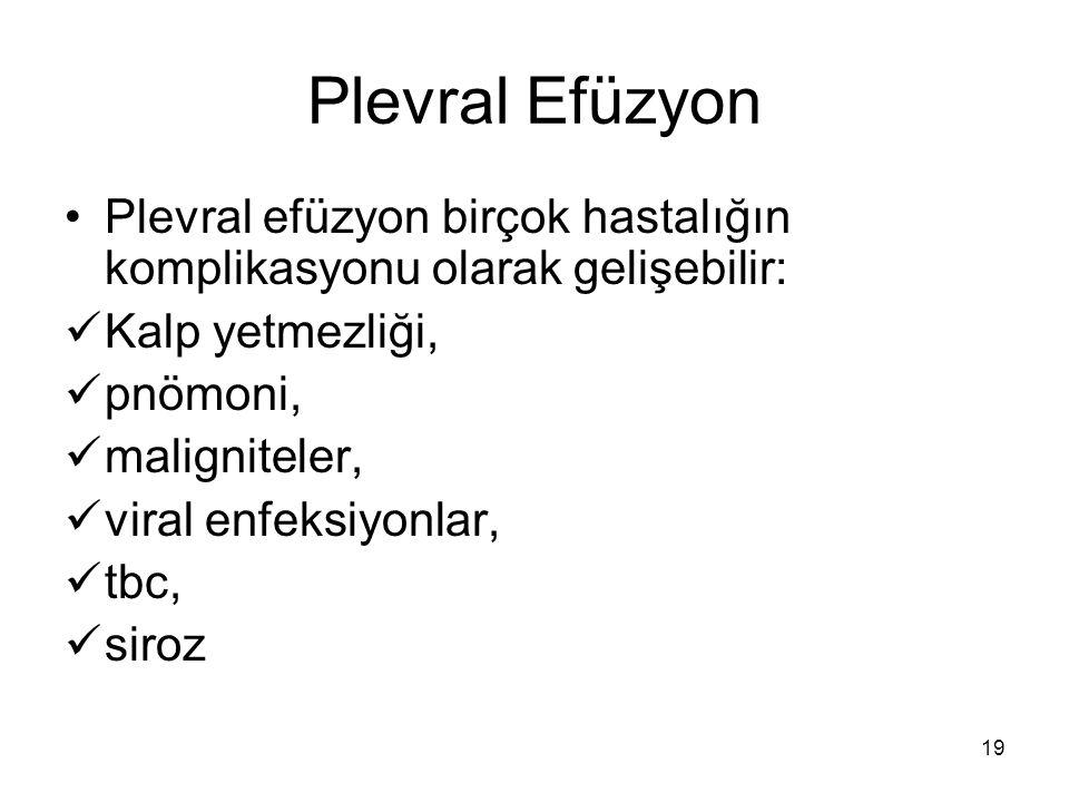 19 Plevral Efüzyon Plevral efüzyon birçok hastalığın komplikasyonu olarak gelişebilir: Kalp yetmezliği, pnömoni, maligniteler, viral enfeksiyonlar, tb