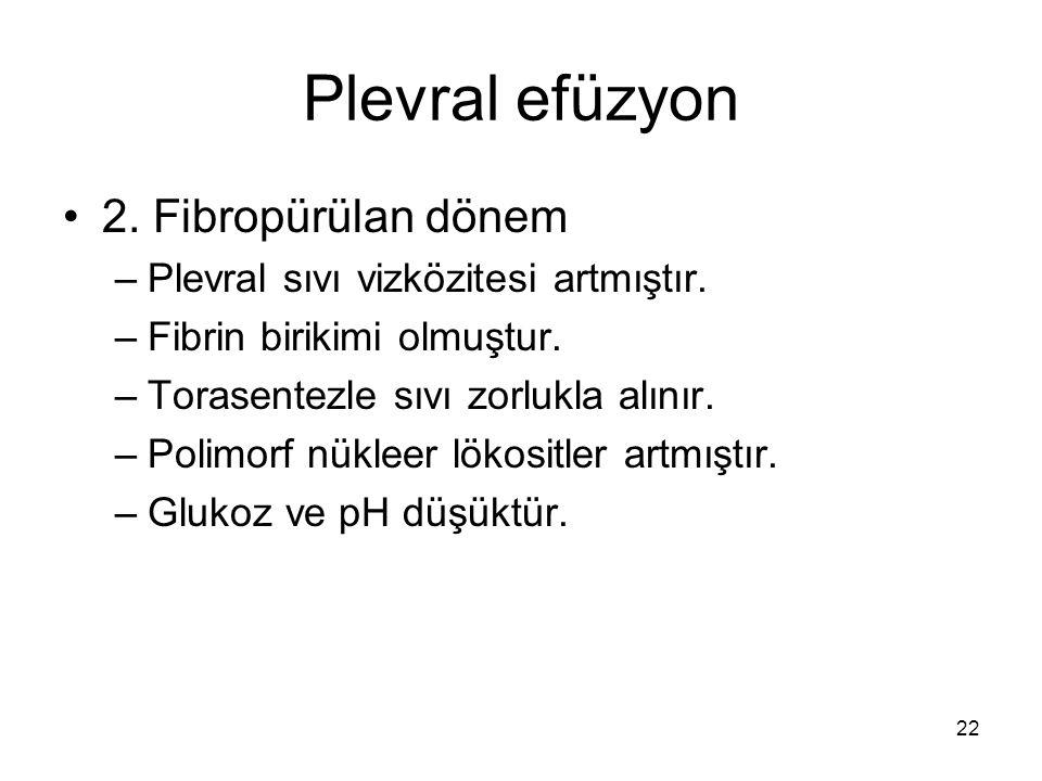 Plevral efüzyon 2. Fibropürülan dönem –Plevral sıvı vizközitesi artmıştır. –Fibrin birikimi olmuştur. –Torasentezle sıvı zorlukla alınır. –Polimorf nü