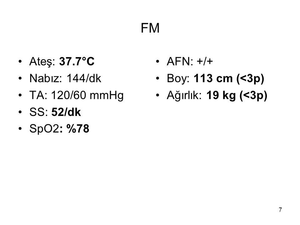 7 FM Ateş: 37.7°C Nabız: 144/dk TA: 120/60 mmHg SS: 52/dk SpO2: %78 AFN: +/+ Boy: 113 cm (<3p) Ağırlık: 19 kg (<3p)
