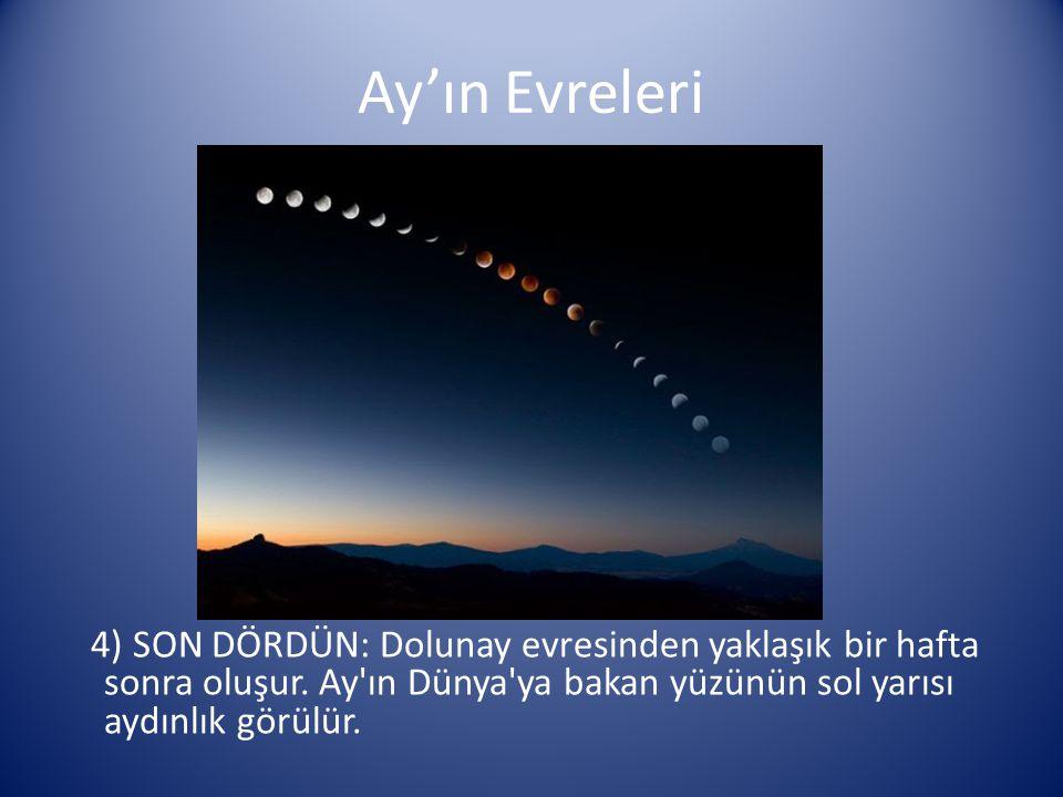 Ay'ın Evreleri 4) SON DÖRDÜN: Dolunay evresinden yaklaşık bir hafta sonra oluşur. Ay'ın Dünya'ya bakan yüzünün sol yarısı aydınlık görülür.
