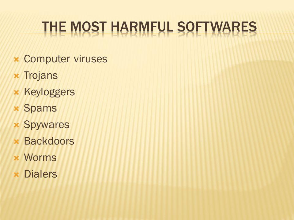  Computer viruses  Trojans  Keyloggers  Spams  Spywares  Backdoors  Worms  Dialers