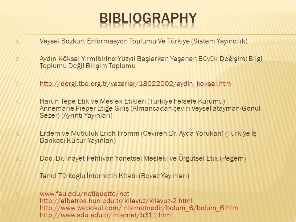 1. Veysel Bozkurt Enformasyon Toplumu Ve Türkiye (Sistem Yayıncılık) 2. Aydın Köksal Yirmibirinci Yüzyıl Başlarkan Yaşanan Büyük Değişim: Bilgi Toplum