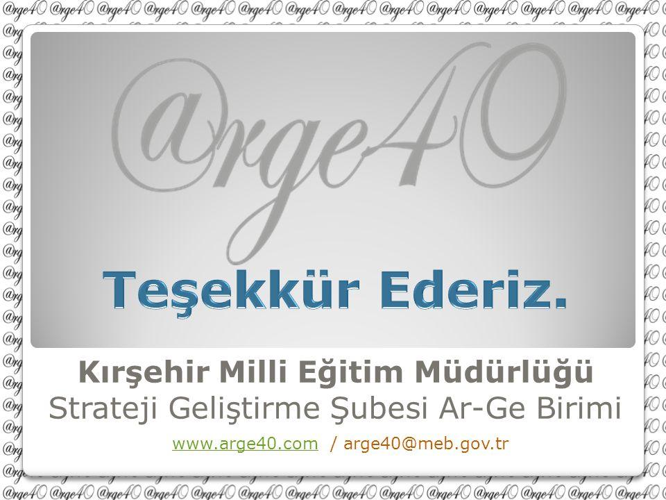 Kırşehir Milli Eğitim Müdürlüğü Strateji Geliştirme Şubesi Ar-Ge Birimi www.arge40.com / arge40@meb.gov.trwww.arge40.com