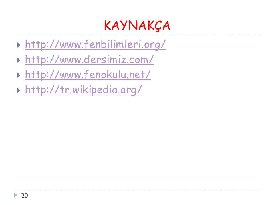 KAYNAKÇA 20  http://www.fenbilimleri.org/ http://www.fenbilimleri.org/  http://www.dersimiz.com/ http://www.dersimiz.com/  http://www.fenokulu.net/