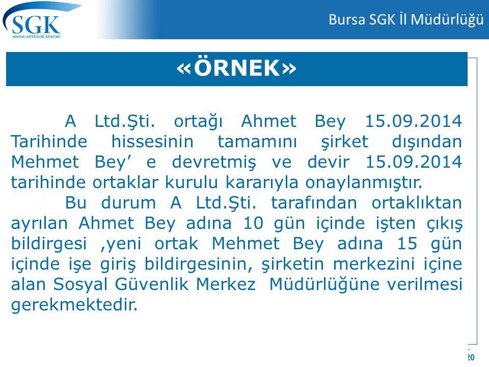 9 Nisan 2015 Bursa SGK İl Müdürlüğü 6 / 20 «ÖRNEK» A Ltd.Şti. ortağı Ahmet Bey 15.09.2014 Tarihinde hissesinin tamamını şirket dışından Mehmet Bey' e
