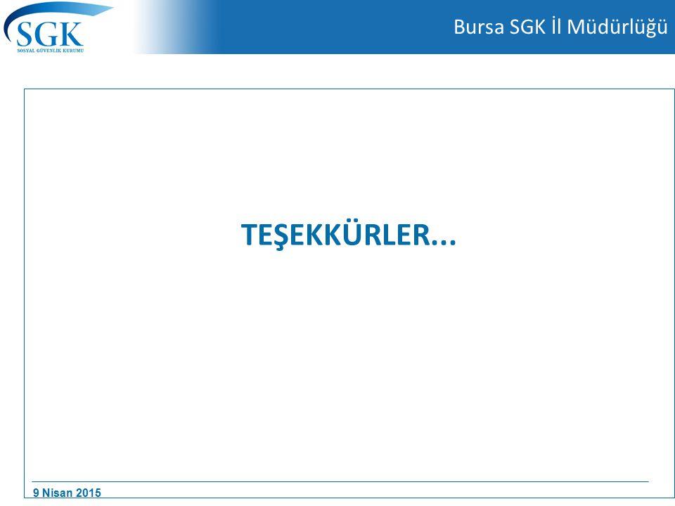 9 Nisan 2015 Bursa SGK İl Müdürlüğü TEŞEKKÜRLER...