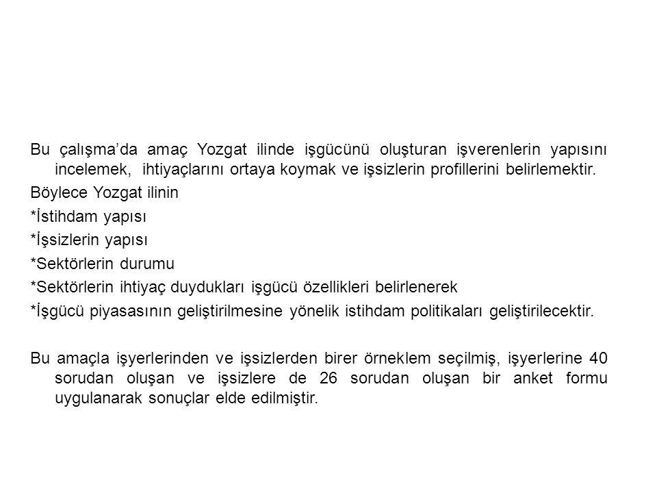 Bu çalışma'da amaç Yozgat ilinde işgücünü oluşturan işverenlerin yapısını incelemek, ihtiyaçlarını ortaya koymak ve işsizlerin profillerini belirlemek