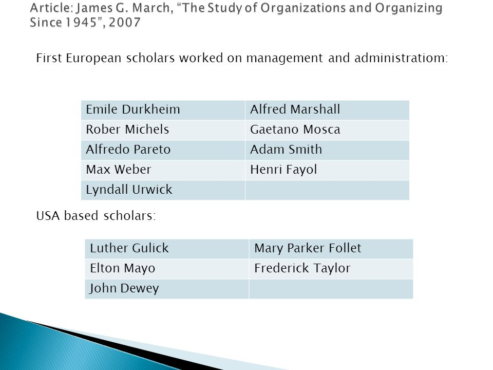 First European scholars worked on management and administratiom: USA based scholars: Emile DurkheimAlfred Marshall Rober MichelsGaetano Mosca Alfredo ParetoAdam Smith Max WeberHenri Fayol Lyndall Urwick Luther GulickMary Parker Follet Elton MayoFrederick Taylor John Dewey