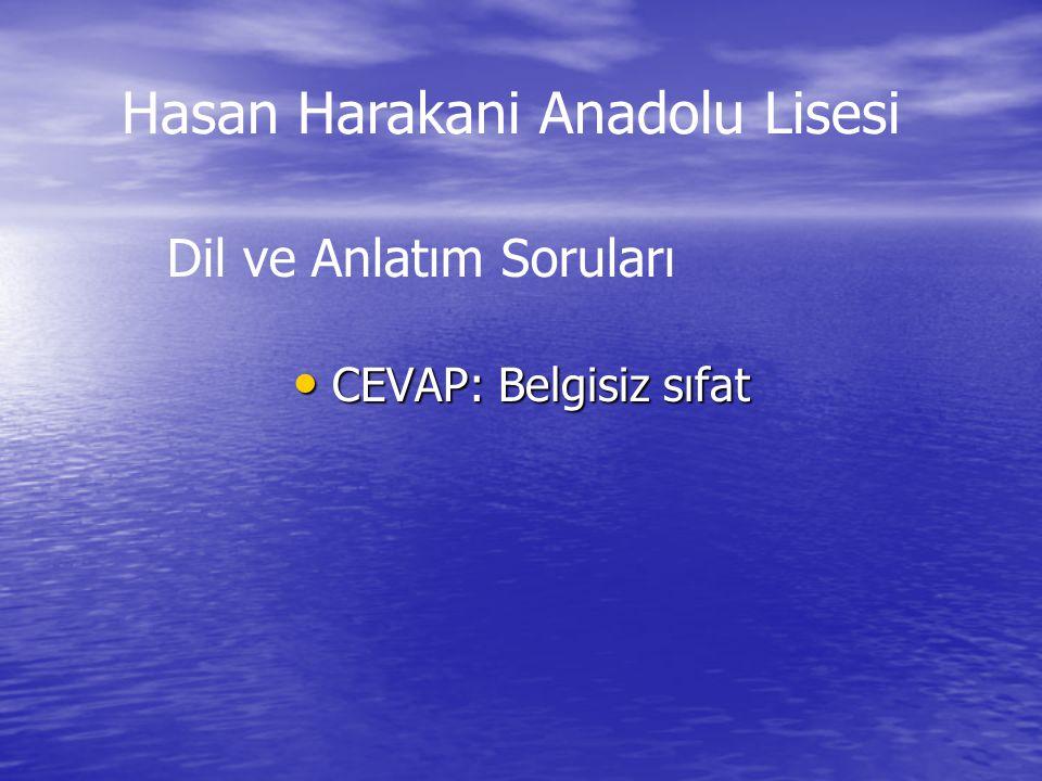 CEVAP: Belgisiz sıfat CEVAP: Belgisiz sıfat Dil ve Anlatım Soruları Hasan Harakani Anadolu Lisesi