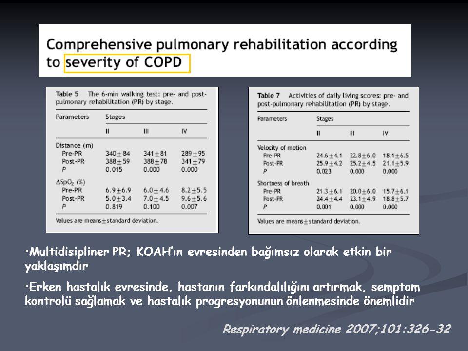 Multidisipliner PR; KOAH'ın evresinden bağımsız olarak etkin bir yaklaşımdır Erken hastalık evresinde, hastanın farkındalılığını artırmak, semptom kontrolü sağlamak ve hastalık progresyonunun önlenmesinde önemlidir Respiratory medicine 2007;101:326-32