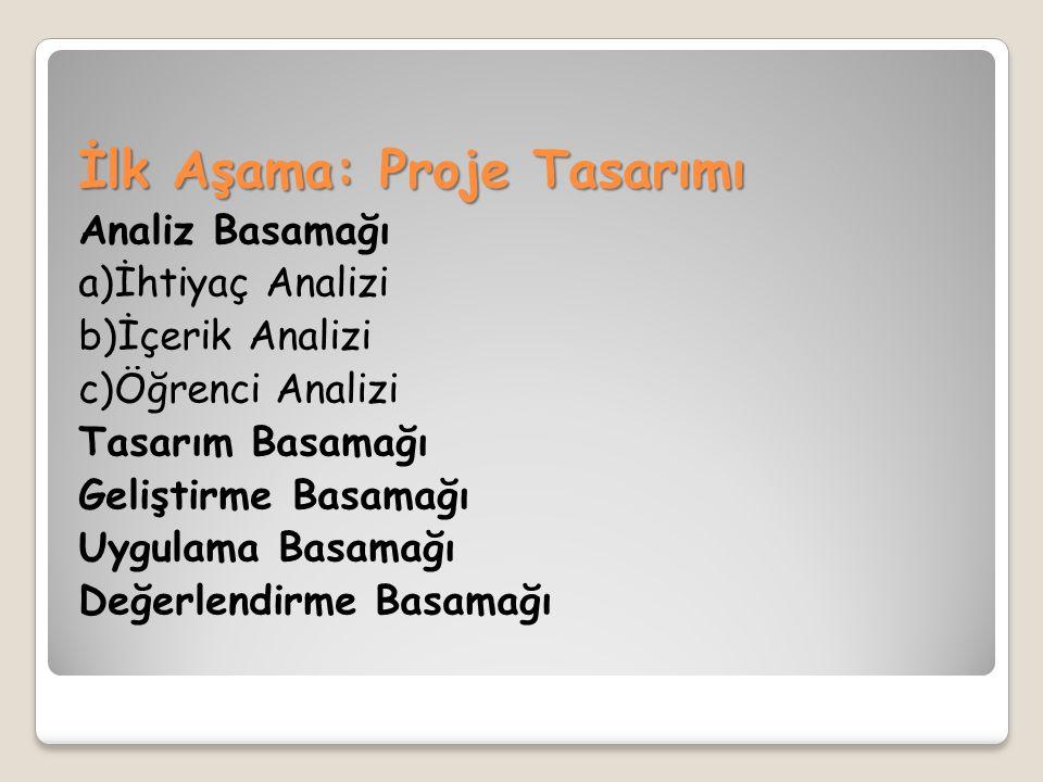 İlk Aşama: Proje Tasarımı Analiz Basamağı a)İhtiyaç Analizi b)İçerik Analizi c)Öğrenci Analizi Tasarım Basamağı Geliştirme Basamağı Uygulama Basamağı