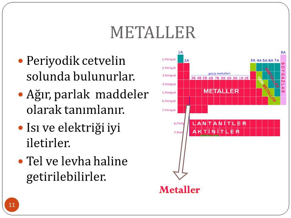 METALLER 11 Periyodik cetvelin solunda bulunurlar. Ağır, parlak maddeler olarak tanımlanır. Isı ve elektriği iyi iletirler. Tel ve levha haline getiri