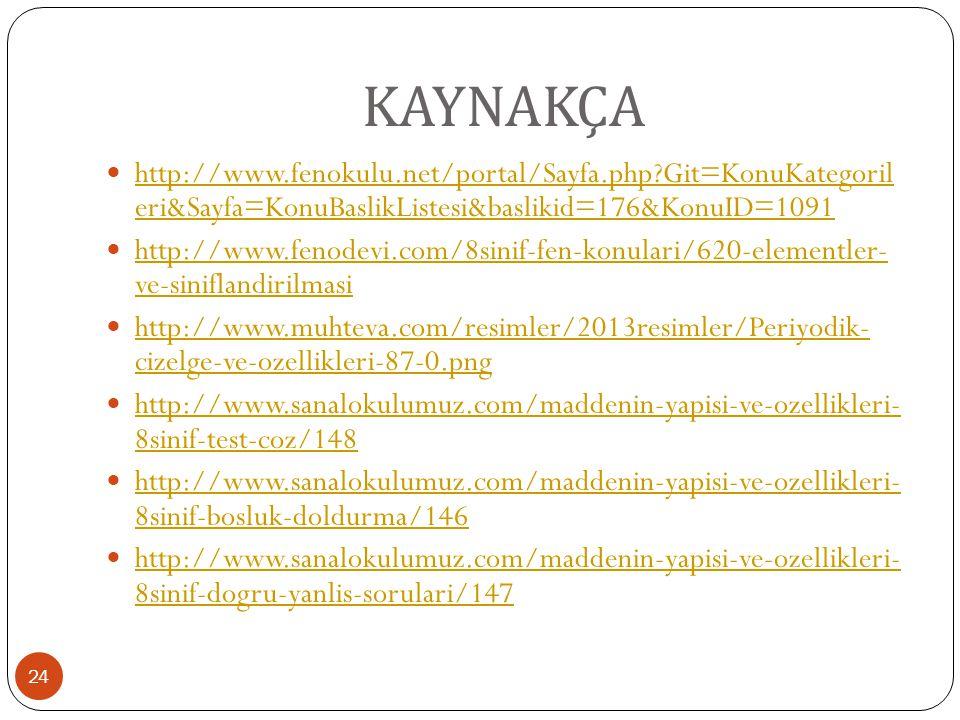 KAYNAKÇA 24 http://www.fenokulu.net/portal/Sayfa.php?Git=KonuKategoril eri&Sayfa=KonuBaslikListesi&baslikid=176&KonuID=1091 http://www.fenokulu.net/po