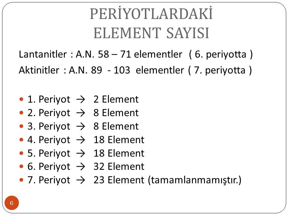 PERİYOTLARDAKİ ELEMENT SAYISI 6 Lantanitler : A.N. 58 – 71 elementler ( 6. periyotta ) Aktinitler : A.N. 89 - 103 elementler ( 7. periyotta ) 1. Periy