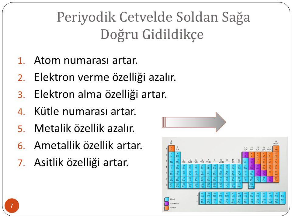 Periyodik Cetvelde Soldan Sağa Doğru Gidildikçe 7 1. Atom numarası artar. 2. Elektron verme özelliği azalır. 3. Elektron alma özelliği artar. 4. Kütle