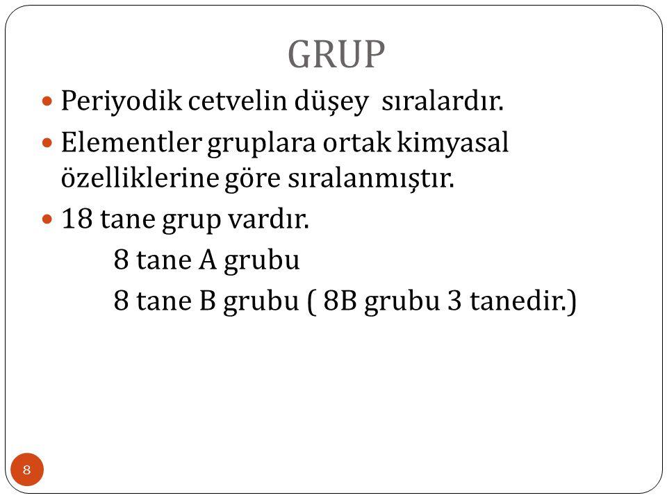 GRUP 8 Periyodik cetvelin düşey sıralardır. Elementler gruplara ortak kimyasal özelliklerine göre sıralanmıştır. 18 tane grup vardır. 8 tane A grubu 8