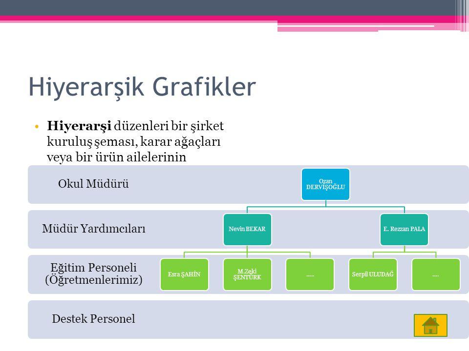Hiyerarşik Grafikler Hiyerarşi düzenleri bir şirket kuruluş şeması, karar ağaçları veya bir ürün ailelerinin gösterilmesi amacıyla kullanılabilir. Des