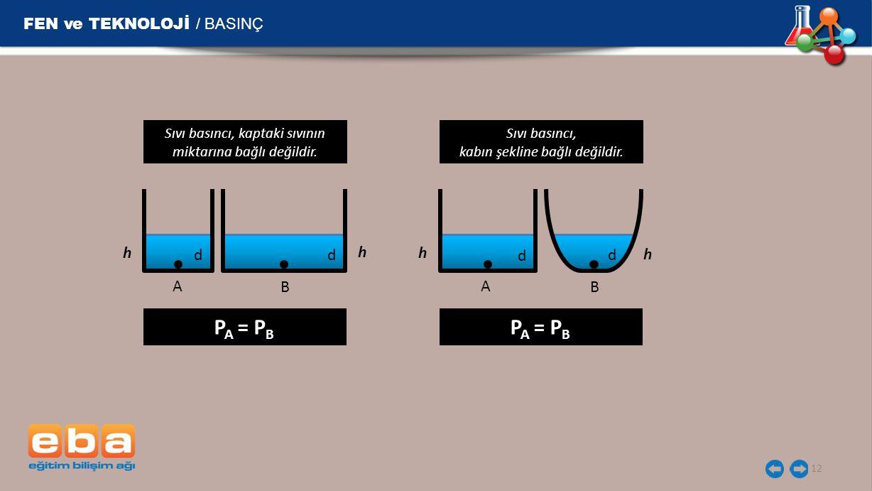 FEN ve TEKNOLOJİ / BASINÇ 12 h Sıvı basıncı, kaptaki sıvının miktarına bağlı değildir. h A B P A = P B d d h Sıvı basıncı, kabın şekline bağlı değildi