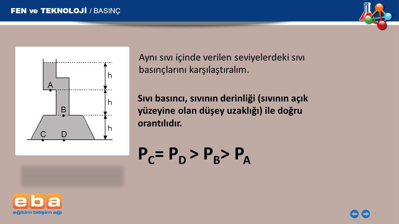 FEN ve TEKNOLOJİ / BASINÇ 7 Aynı sıvı içinde verilen seviyelerdeki sıvı basınçlarını karşılaştıralım.