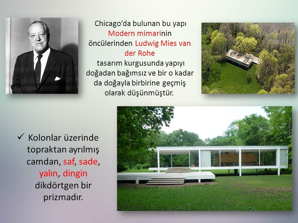 Chicago'da bulunan bu yapı Modern mimarinin öncülerinden Ludwig Mies van der Rohe tasarım kurgusunda yapıyı doğadan bağımsız ve bir o kadar da doğayla birbirine geçmiş olarak düşünmüştür.
