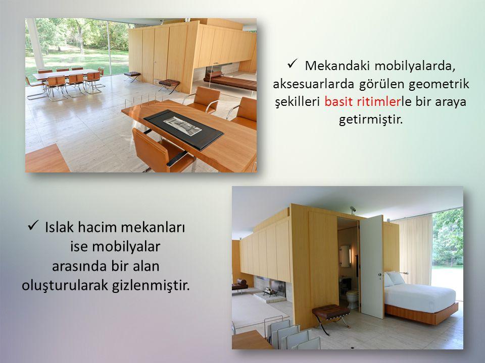 Mekandaki mobilyalarda, aksesuarlarda görülen geometrik şekilleri basit ritimlerle bir araya getirmiştir.