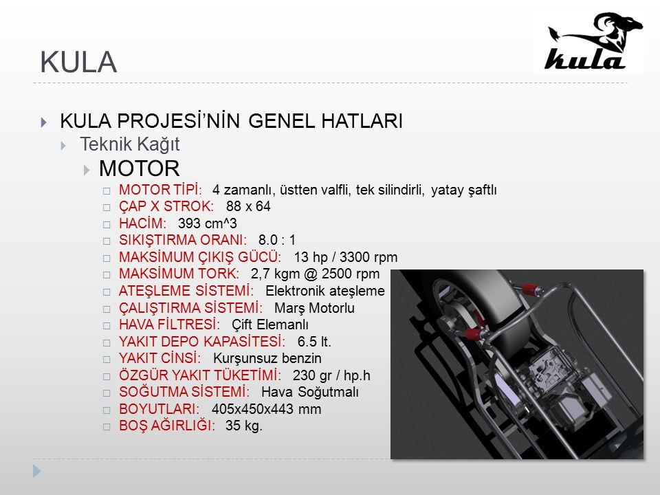 KULA  KULA PROJESİ'NİN GENEL HATLARI  Teknik Kağıt  MOTOR  MOTOR TİPİ : 4 zamanlı, üstten valfli, tek silindirli, yatay şaftlı  ÇAP X STROK: 88 x 64  HACİM: 393 cm^3  SIKIŞTIRMA ORANI: 8.0 : 1  MAKSİMUM ÇIKIŞ GÜCÜ: 13 hp / 3300 rpm  MAKSİMUM TORK: 2,7 kgm @ 2500 rpm  ATEŞLEME SİSTEMİ: Elektronik ateşleme  ÇALIŞTIRMA SİSTEMİ: Marş Motorlu  HAVA FİLTRESİ: Çift Elemanlı  YAKIT DEPO KAPASİTESİ: 6.5 lt.