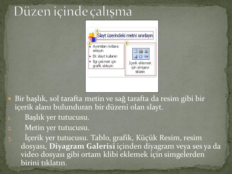 Bir başlık, sol tarafta metin ve sağ tarafta da resim gibi bir içerik alanı bulunduran bir düzeni olan slayt.