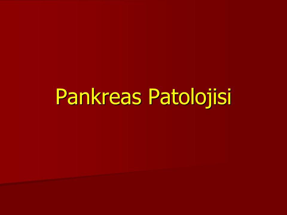 Morfoloji Morfoloji 1.İrregüler fibrozis 1.İrregüler fibrozis 2.Asinusların sayı ve boyutunda azalma 2.Asinusların sayı ve boyutunda azalma 3.Pankreas duktuslarında tıkanma 3.Pankreas duktuslarında tıkanma